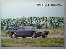 Prospekt Maserati Khamsin, ca.1978, 2 Seiten, italienisch/englisch/französisch