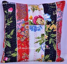Indian Ethnic Cotton Handmade Floral Kantha Cushion Cover Covers 16x16 decor 40