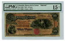 Colombia … P-S862 … 10 Pesos … 1883 … *F+*  PMG (F+) Not proof.