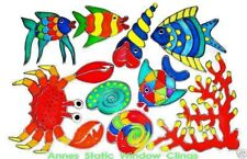 FISH CORAL SNAIL SHELL BATHROOM WINDOW DOOR CLING STAINED GLASS LOOK DECAL MOTIF