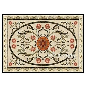"""30 x 48"""" Marble Coffee Table Top Floral Pattern Inlaid Decent Look Island table"""