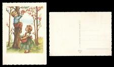 1950's VINTAGE SCALLOP EDGED GORGEOUS CHILDREN PLAYING in ORCHARD POSTCARD