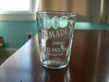 NORMADEX CLEVELAND OHIO ACID ETCHED WHISKEY OR MEDICINE DOSE GLASS SWIRL GLASS