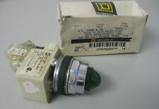 Square D Class 9001 Type KT1G9 Push to Test Pilot Light w/Green Lens 110/120Volt