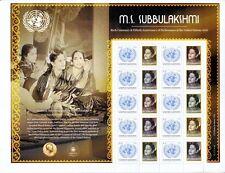 ONU 2016-M.S. Subbulakshmi hoja De Sellos Personalizados-estampillada sin montar o nunca montada/Umm