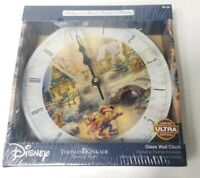 Disney Mickey Minnie Sweetheart Holiday Thomas Kinkade Glass Wall Clock Ltd. Ed.