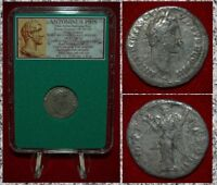Ancient Roman Empire Coin ANTONINUS PIUS Victory On Reverse Silver Denarius