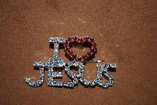 I Love Jesus Crystal Pin Silver Christ Christian Religion Lord Baptist Catholic