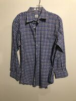 Mens Peter Millar Blue And Purple Plaid Long Sleeve Button Down Shirt Medium
