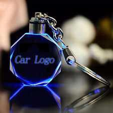 Portable Car Logo Keychain Engraved Crystal Keychain Led Light Car Hanging Gift