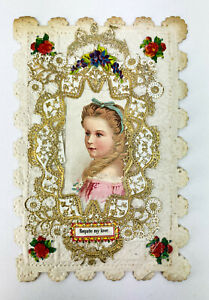 VICTORIAN REQUITE MY LOVE CARD - Antique/Vintage Lace Embossed Romance Valentine