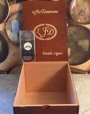La Flor Dominicana Double Ligero EMPTY Wood Cigar Box DL+700 SAVOY Cigar Cutter