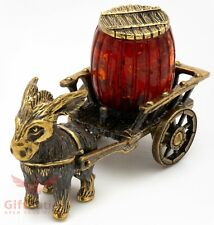 Solid Brass Amber Figurine donkey drawn cart with an amber barrel IronWork