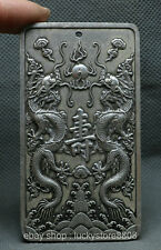90MM China Miao Silver Fengshui Double Dragon Pearl Shou Blessing Amulet Pendant