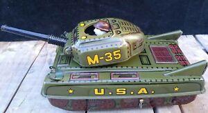 ULTRA RARE Vintage 1950s Tin B.O. MILITARY TANK M-35 Toy, CRAGSTAN Japan
