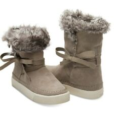 TOMS Womens Size 6 Vista Desert Taupe Suede Faux Fur Winter Boots NWOB