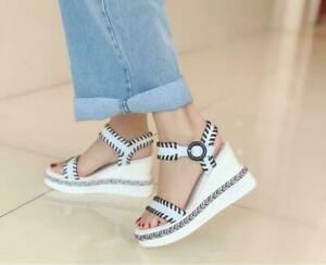 Womens Chic Leather Two Tone Ankle Strap Platform Wedge Heel Sandals Shoes MOON
