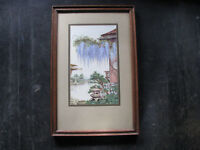 1930s JAPANESE GARDENS w/ WISTERIA FLOWERS Watercolor Painting VINTAGE ORIENTAL