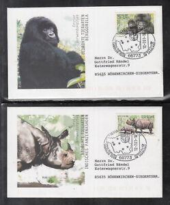 Germany 2001 - Mountain Gorilla and Tank-Rhinoceros of 2 beautiful FDC
