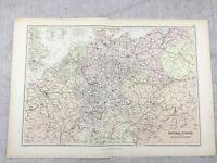 1882 Antico Ferrovia Mappa Di Centrale Europa Route Linea Originale 19th Secolo