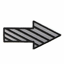 Embroidered Reflective Striped Arrow Iron on Sew on Biker Patch Badge