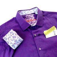 Robert Graham Paisley Classic Fit Long Sleeve Purple Sport Shirt Mens Medium