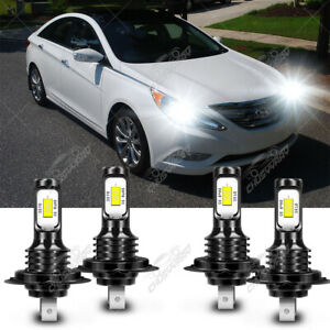 For Hyundai Sonata 2011-2014 6000K LED Headlight High Low Beam Combo 4 Bulbs Kit
