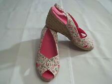 NEW Chaps Women's Pink Floral Rope Wedge Heel Slingback Sandals-8-Peep Toe