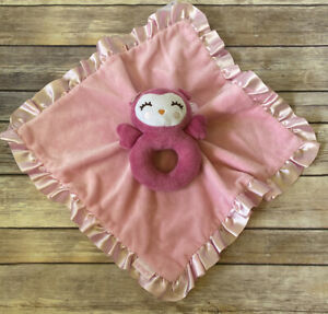 Carters Pink Owl Ring Rattle Security Blanket Lovey Minky & Satin Ruffle Trim