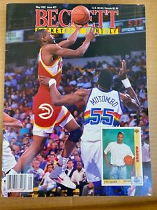 Basketball Beckett May 1992 Issue #22 MUTOMBO & AUGMON cover, Dennis RODMAN back