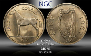 1967 IRELAND 1/2 CROWN / 2 SCILLING NGC MS65 ONLY 3 GRADED HIGHER #H