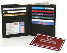BLACK RFID Blocking Cowhide Leather Hipster Wallet Bifold ID Card Wallet 14 Slot