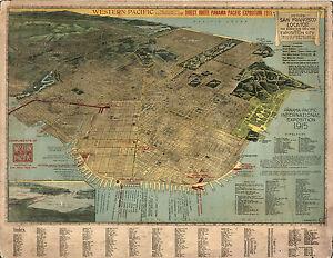 "1914 Map Pictorial Birds-Eye-View of San Francisco 11""x14"" Wall Art Poster Decor"
