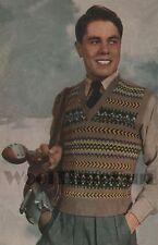 Vintage Knitting Pattern Mens Classic Fair Isle Vest/Tank Top/Slip Over.
