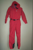 OBERMEYER RED ONE PIECE SNOW SKI SNOWBOARD BELTED COAT PANTS SNOWSUIT PETITE 10