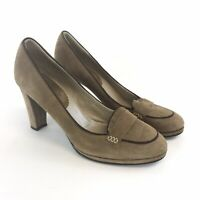Boden Size 40 / UK7 Brown Leather Suede Slip On Court High Heels Loafers Shoes