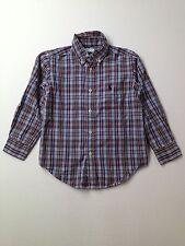 Boy Ralph Lauren Polo Purple Blue Plaid Dress Button Down L/S Shirt Size 4