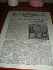 """1917 Bible Students Monthly """"WAR EXTRA"""" Watchtower IBSA Jehovah"""