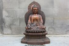 chinese Buddhism copper red bronze Tathagata Gautama buddha Sit Lotus statue
