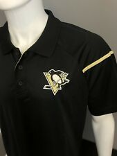 Pittsburgh Penguins Polo Shirt - Reebok Black Performance Play Dry Polo