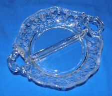 Vintage Clear Etched Glass Divided Relish Floral Design Double Handle Fostoria