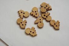 10pc 19mm Untreated Wooden Squirrel Shaped Craft Button 0958