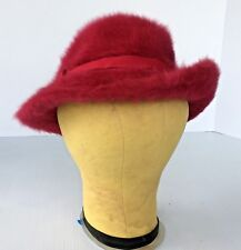Vtg Lord & Taylor Ladies Fuchsia Rose Mohair Hat - England Mid-Century