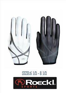 % Roeckl Handschuh Damen Laila Solar 6.5-8,5 schwarz weiß % summer reite leicht