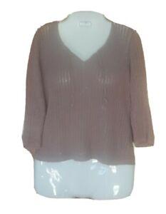 So Blue Sigrid Olsen Open Knit Linen Blend Mauve Pullover Size Large