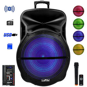 "BEFREE SOUND 18"" BLUETOOTH PORTABLE DJ PA PARTY SPEAKER w LIGHTS USB/SD FM MIC"