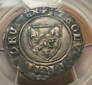 1380-1422 France Silver Blanc -  Charles VI - PCGS AU50
