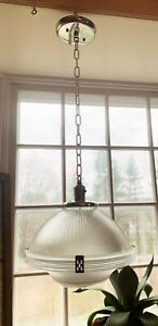 """Rare Holophane Deco Hanging 12"""" Shade Arts Crafts Nickel Hubbell Chain Canopy"""