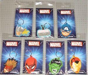 MARVEL HERO 2D Chibi Rubber Keyrings  Choose from list. New Sealed