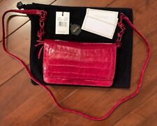 New Nancy Gonzalez GBR11116-01 Red Crocodile Flap Clutch Handbag w/Dust Bag